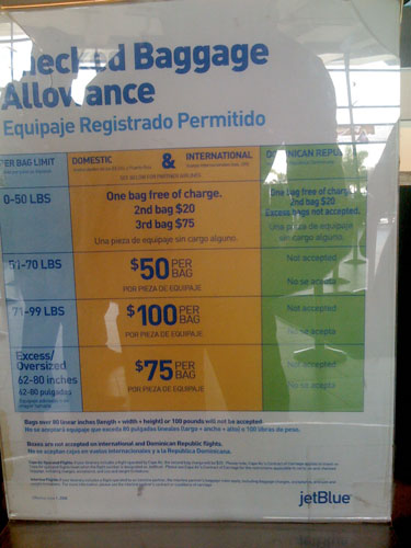 Fees Posted At Counter Of Jetblue In San Go