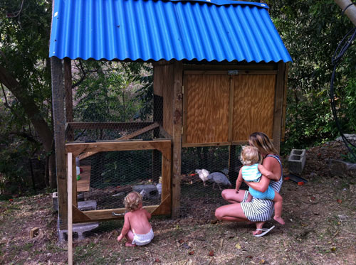 Summer, Sydney and Eli at the new chicken coop.